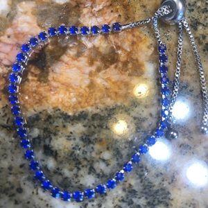 Silver Color Blue CZ Tennis Bracelet